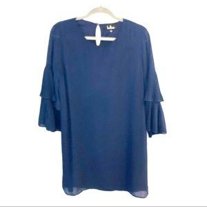 Lulu's Two-Tiered Bell Sleeve Shirt Dress